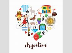 Vector flat style heart shape composition of Argentina