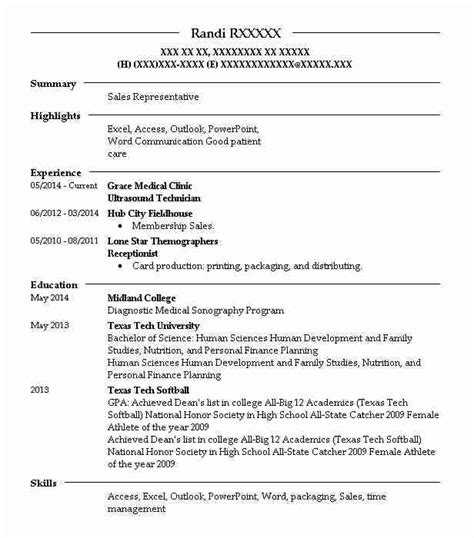 Diagnostic Sonographer Resume by Best Ultrasound Technician Resume Exle Livecareer