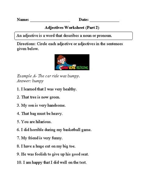 regular adjectives worksheets circling adjectives