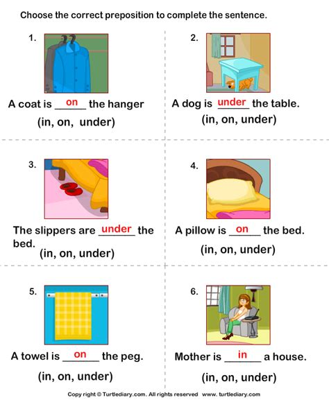 write preposition in on to complete sentences