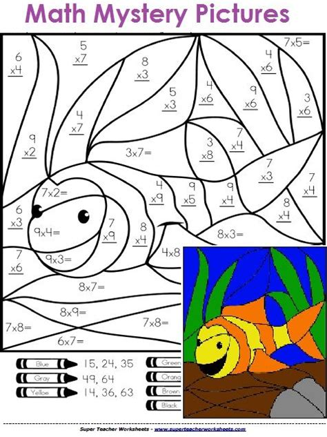 math mystery pictures solve  basic math problems