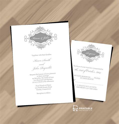 beautiful wedding monogram  invitation  rsvp
