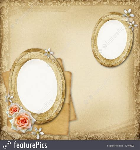 ancient photo album page background  oval frames  rose