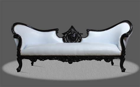 Barock Deluxe Möbel Barock Couch Sofa Weiss Schwarz