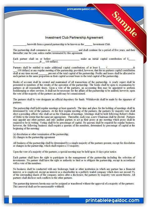 how to form an investment group free printable investment club partnership agreement form
