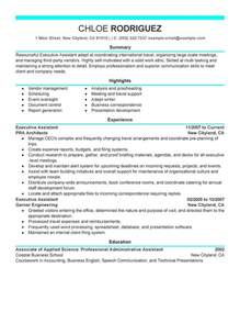 resume for school office assistant executive assistant resume sle