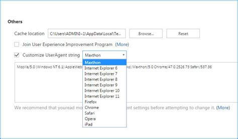 user agent string customize maxthon switcher comparing browsers