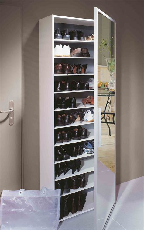 cuisine au vin functio armoire à chaussures avec miroir large blanc monbureaudesign fr