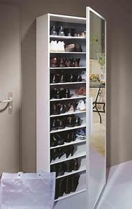 Functio Armoire Chaussures Avec Miroir Large Blanc