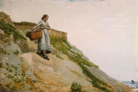 filegirl carrying  basket  winslow homer png