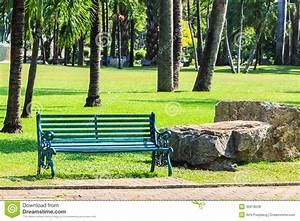 Green Bench In Palm Garden Background Royalty Free Stock ...