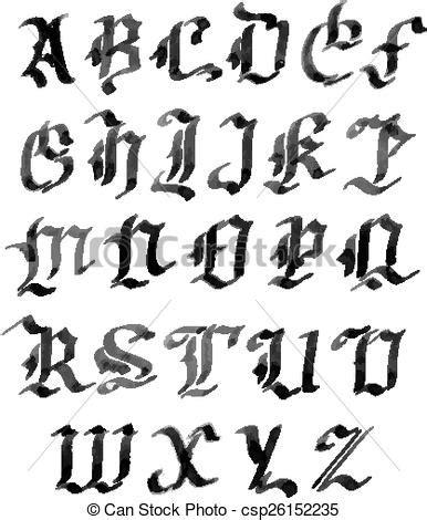 Style, Alphabet, Letters, Gothique, Encre, Dessiné, Main