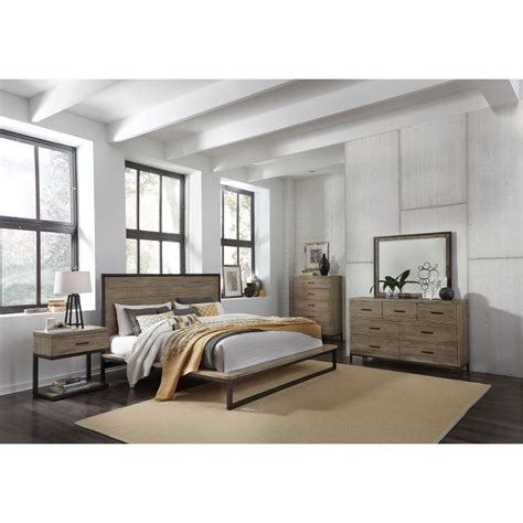 industrial modern pine metal  piece queen bedroom set