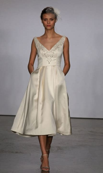 elegant retro tea length wedding dresses weddingomania