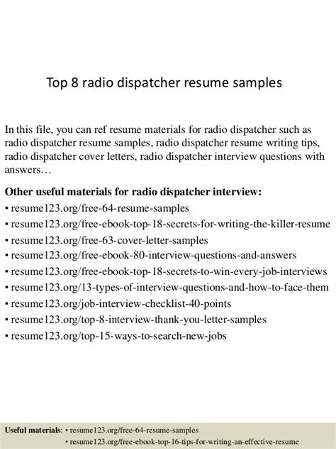 top 8 dispatcher resume sles 28 images banking resume