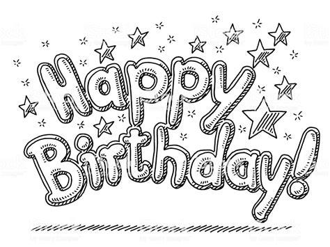 happy birthday celebration text stars drawing stock vector