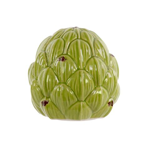 ceramic artichoke decor distressed green