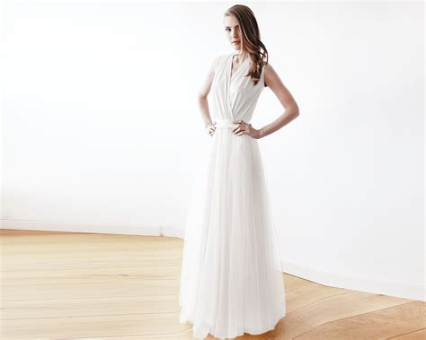 Ivory Maxi Tulle Sleeveless Dress