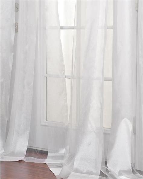 White Sheer Kitchen Curtains by White Striped 96 Inch Sheer Curtain Panel Modern