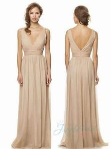 jm14012 strappy v neck nude color long chiffon bridesmaid With nude color wedding dress