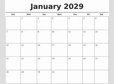 January 2029 Free Calendar Template