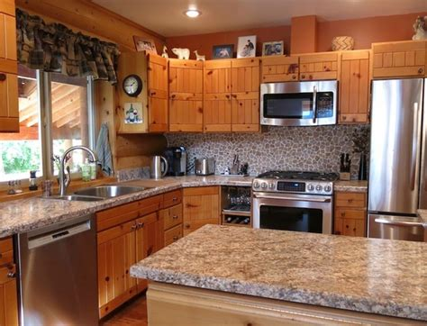log cabin kitchen backsplash ideas log cabin kitchen in wenatchee wa rustic kitchen