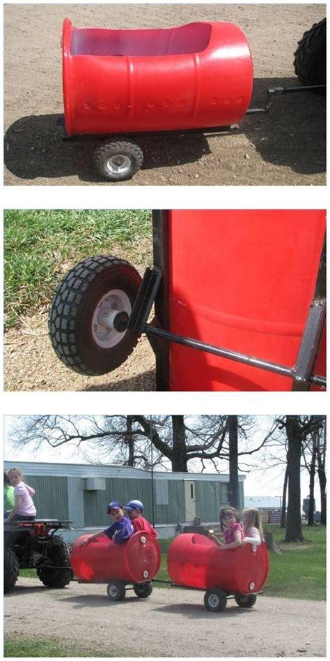 diy plastic barrel derby car kids fun trailer