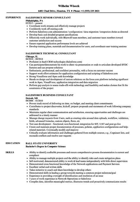 Salesforce Administrator Resume by Consultant Salesforce Resume Sles Velvet