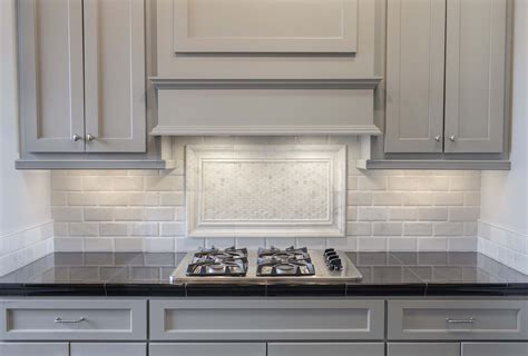 grey kitchen cabinets with backsplash grey painted cabinets with white marble pillowed subway