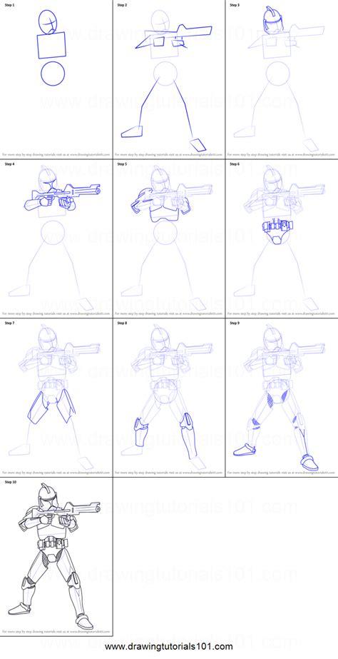 draw clone trooper  star wars printable step