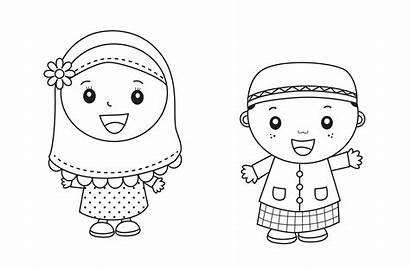 Anak Mewarnai Gambar Muslim Untuk Kartun Tk