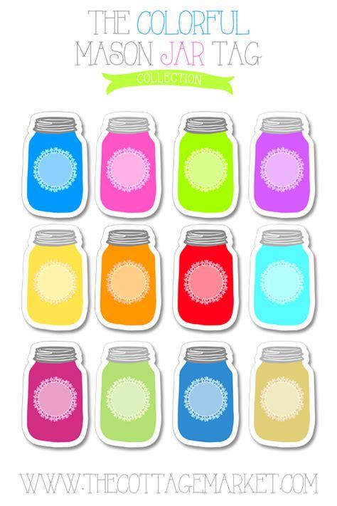 colorful mason jar tag collection  printable