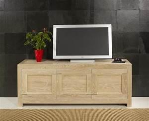 Meuble Tv Bois Massif Moderne : meuble tv 16 9 me thierry en ch ne massif contemporain finition ch ne bross blanchi meuble en ~ Teatrodelosmanantiales.com Idées de Décoration