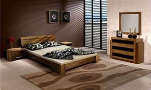 Lit Design Bois : lit en bois massif avec commode belles finitions en noyer clair ~ Teatrodelosmanantiales.com Idées de Décoration
