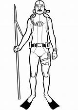 Scuba Diver Spearfishing Diving Coloring Fishing Azcoloringpages sketch template