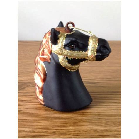 christmas ornament bonner s glass black horse head with gold bridle on ebid united states 93467228