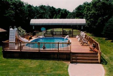 semi inground pools   magnificent backyard wooden