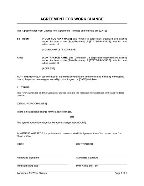 agreement  work change template word