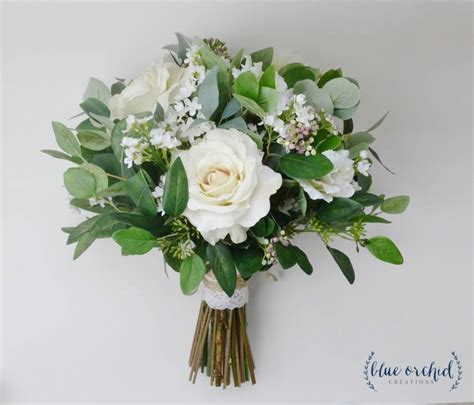 wedding flowers wedding bouquet eucalyptus bouquet silk