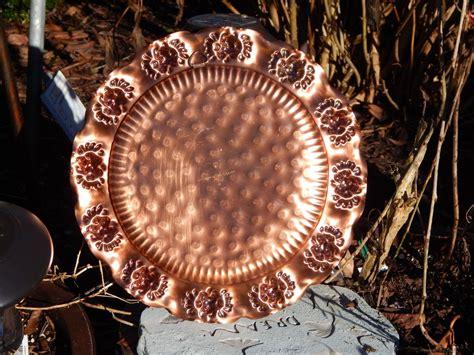 gregorian copper platter  floral detail mid century gregorian copper   wall plate