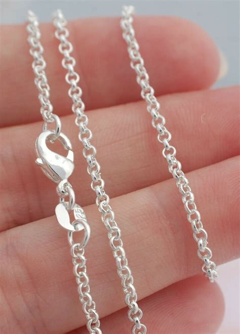 mm rolo chain necklace  sterling silver jewelry