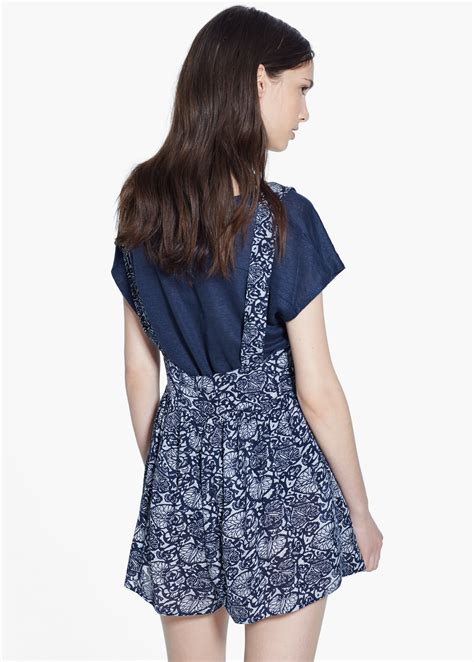 printed jumpsuit mango printed jumpsuit in blue klein blue lyst