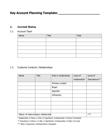 account plan template 7 strategic account plan templates free sle exle format free premium templates