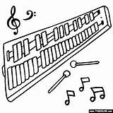 Glockenspiel Coloring Instruments Musical Thecolor Orchestra sketch template