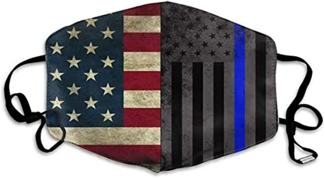 Amazon.com: American Thin Blue Line Flag Face Masks