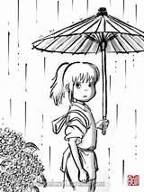 Coloring Spirited Away Studio Ghibli Chihiro Anime Miyazaki Spirit Totoro Colouring Sumi Hayao Drawing Deviantart Lineart El Japanese Adult Sayurimvromei sketch template
