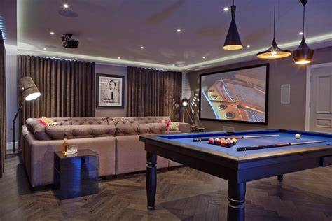 chill room family contemporary  cove lighting billiards tables