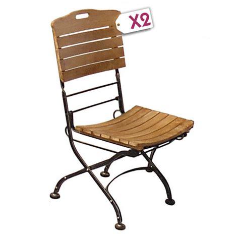 chaise pliante fer forgé mobilier de jardin lot de 2 chaises pliantes teck fer
