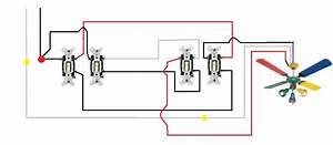 Wiring a ceiling fan with two switches diagram hunter