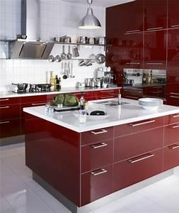 cuisine avec ilot central With cuisine rouge avec ilot central
